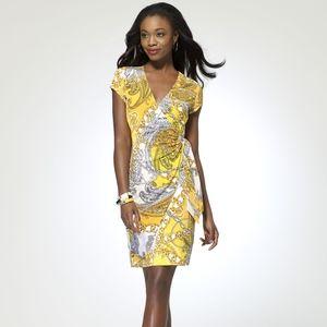 NWT Cache Paisley and Chain Wrap Dress Medium